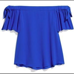 Off The Shoulder Blue Blouse